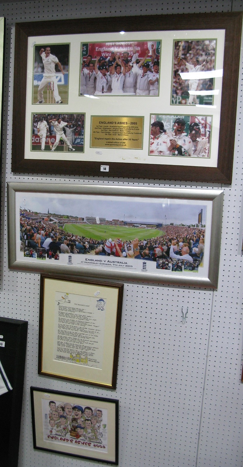 Lot 14 - Cricket 'England's Ashes 2005' Montage, featuring celebrations. Headingley test print, Norman Hood