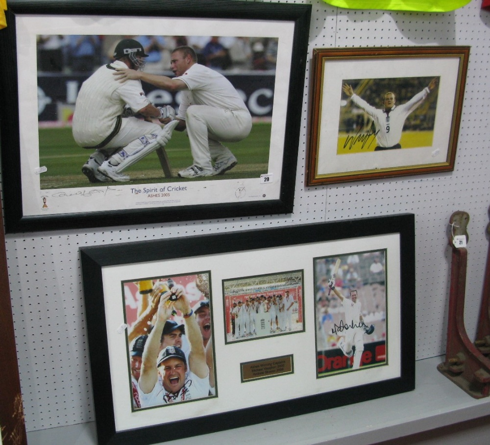 Lot 20 - 'The Spirit of Cricket' Ashes 2005 Signed Print 32x51cm, 'Spirit of sport' label to back, Ashes