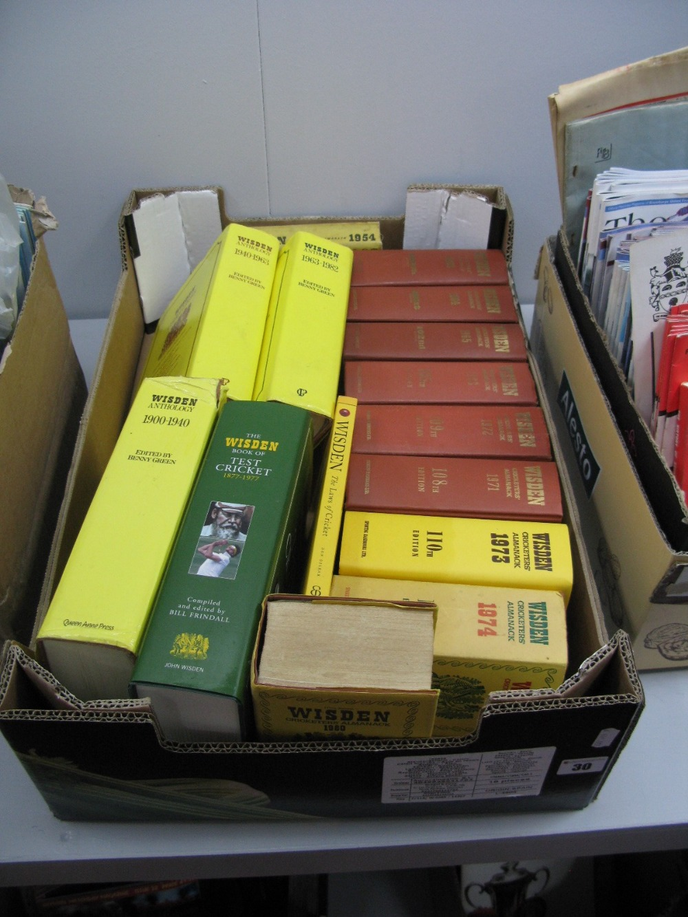 Lot 30 - Wisden Cricketers Almanacks, 1954, 63,64, 65, 68 71, 73, 74, 80, anthologies, etc:- One Box