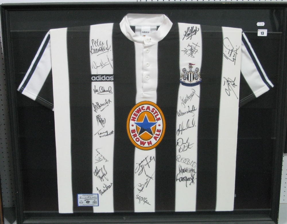 Lot 13 - Newcastle United Adidas Home Shirt Featuring Newcastle Brown Ale Logo, and approximately twenty