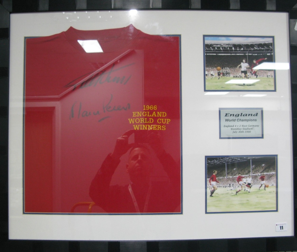 Lot 11 - Martin Peters And Geoff Hurst Autographed Red Shirt, embroidered '1966 England World Cup Winners',