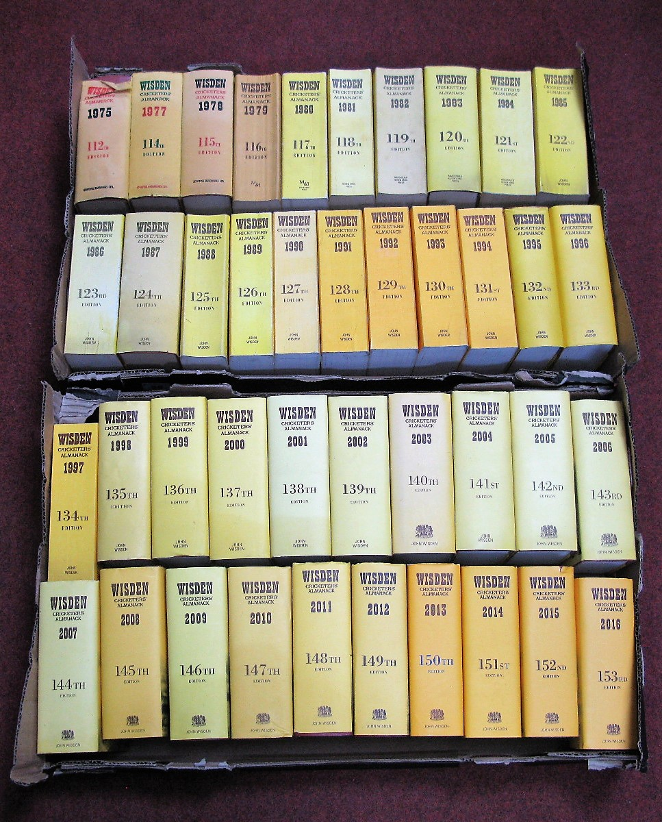 Lot 58 - Wisden Crickiters Almanacks, 1975,1977 to 2016:- Two Boxes