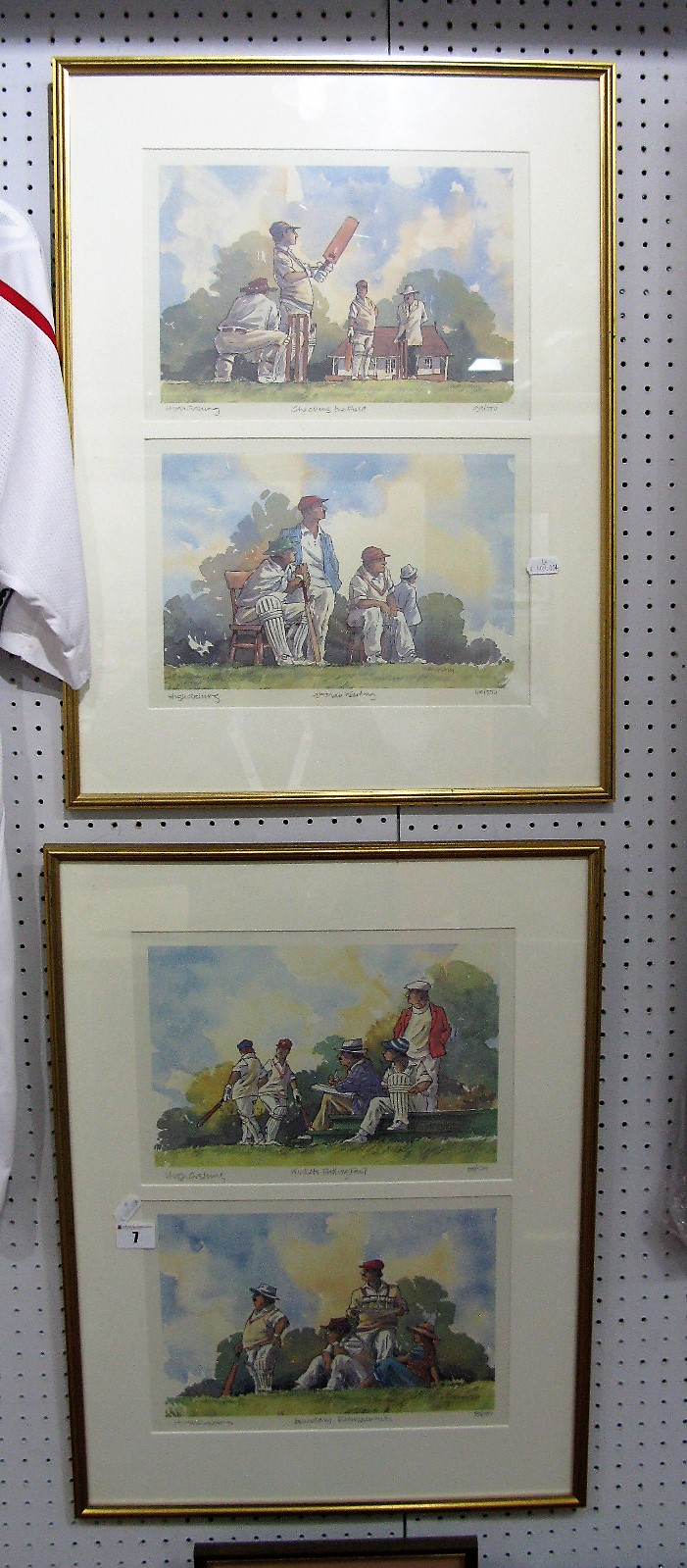 Lot 7 - Four Hugh Cushing Limited Edition Cricket Theme Prints, including 'Boundary Refreshments', 'Checking