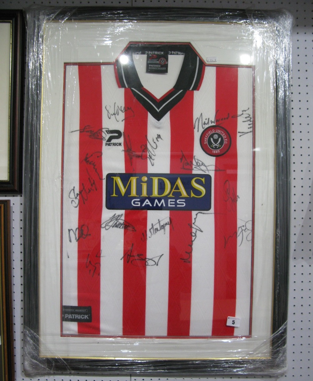 Lot 5 - Sheffield United - Patrick Home Shirt With 'Midas Games', sponsor logo bearing approximately 18