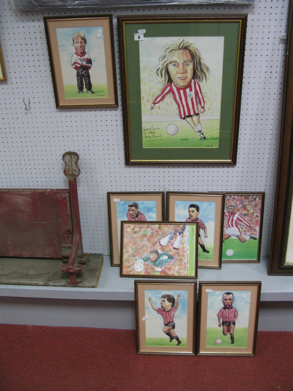 Lot 8 - After Alan Rolfe Eight Player Prints, including Tony Currie personalised signature, personalised
