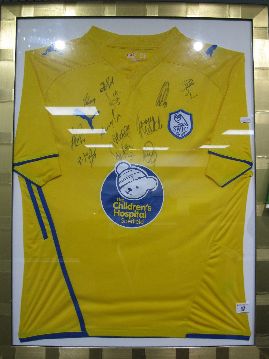 Lot 17 - Sheffield Wednesday Yellow Away Shirt By Puma, with children's hospital logo, black pen signed by