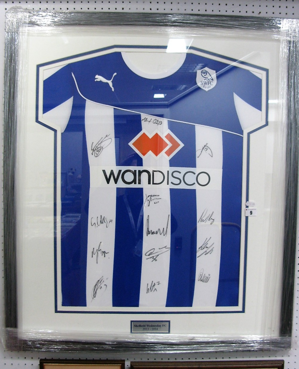 Lot 9 - Sheffield Wednesday 2013-14 Home Puma Shirt, with 'Wandisco' logo black pen signed by 13 players,