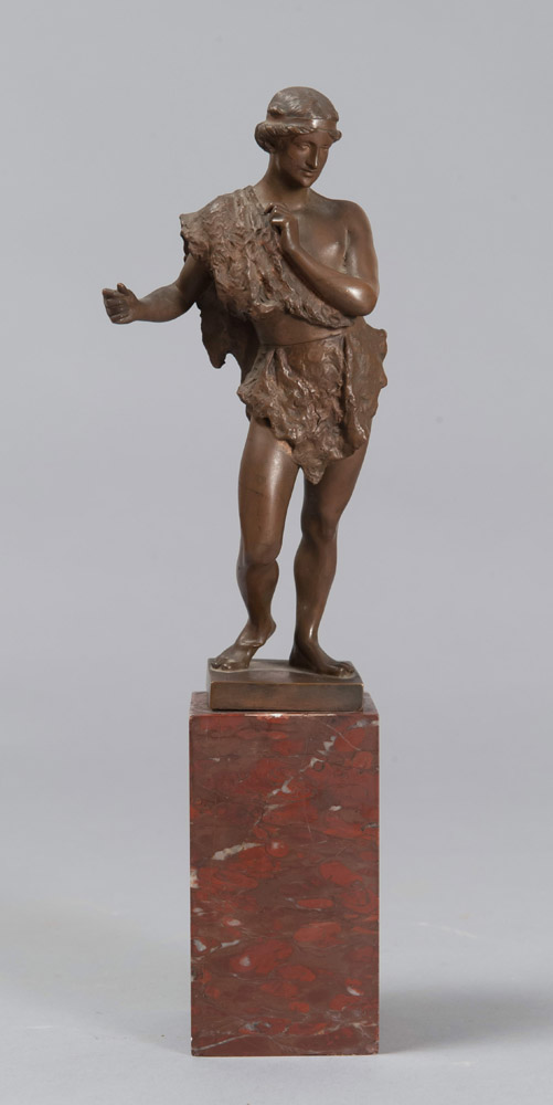 Lot 246 - ADOLFO APOLLONI  (Roma 1855 - 1923)    EPHEBOS  Sculpture in bronze, cm. 21 x 10  Signed on back