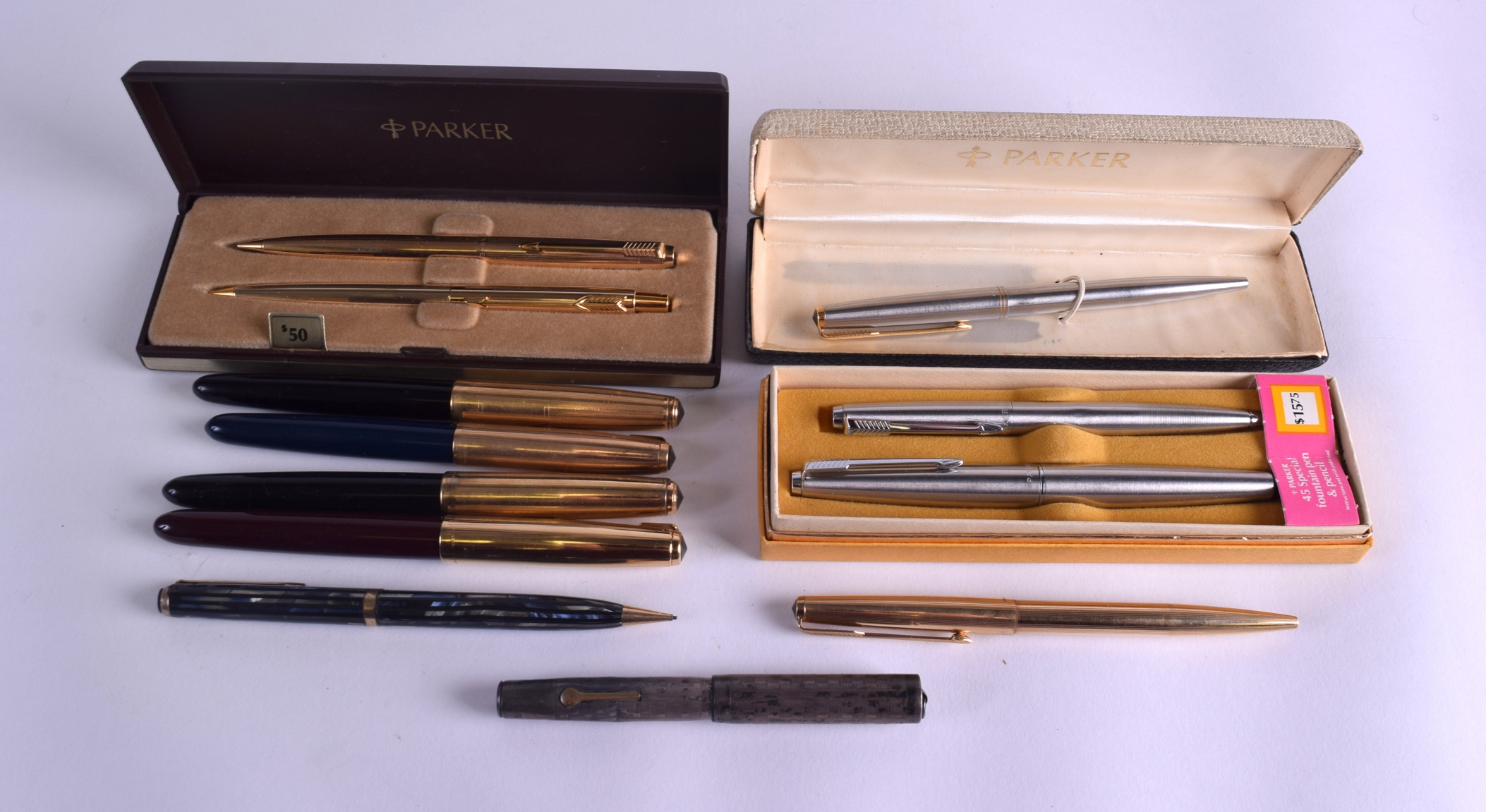 Lot 875 - A COLLECTION OF PARKER FOUNTAIN PENS together with other Parker pens. (14)