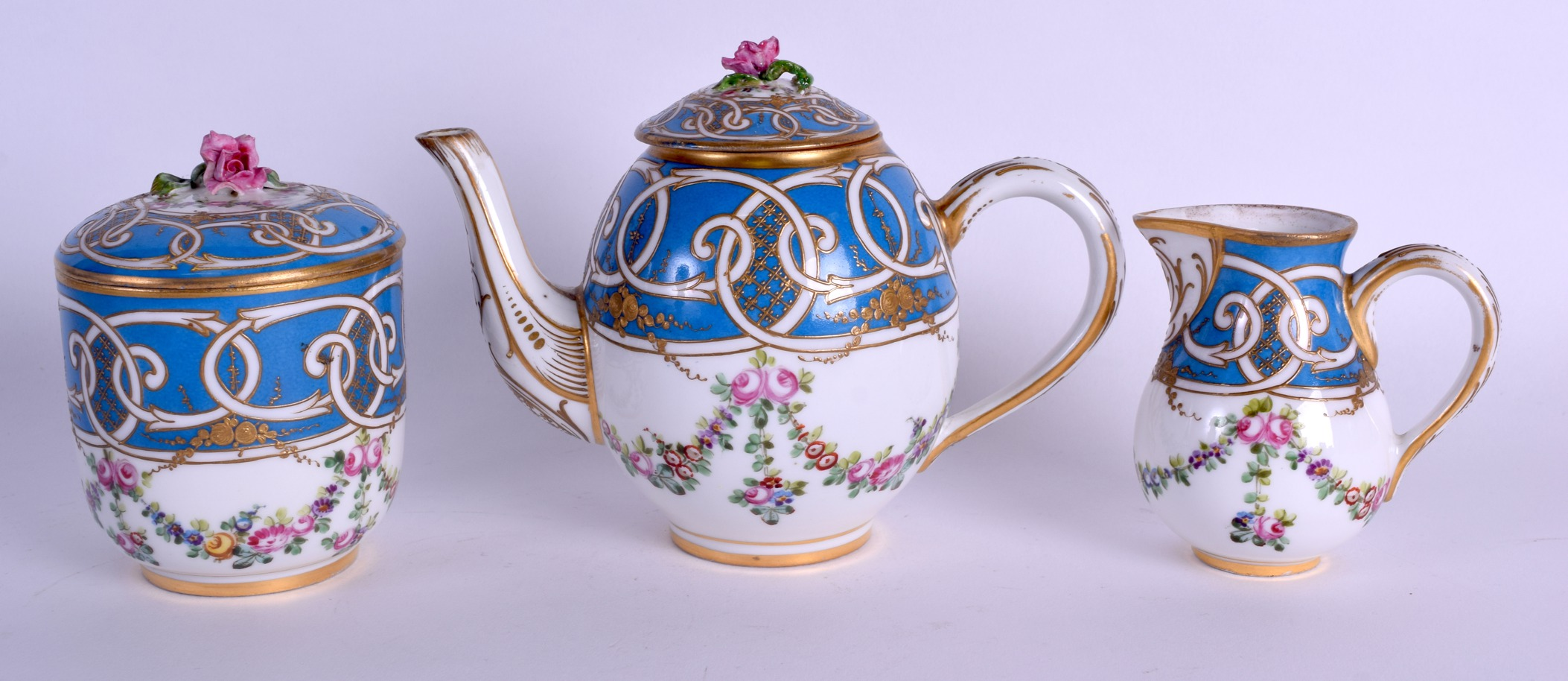 Lot 59 - A GOOD 19TH CENTURY FRENCH PARIS PORCELAIN TETE A TETE TEASET ON TRAY probably Sevres, painted