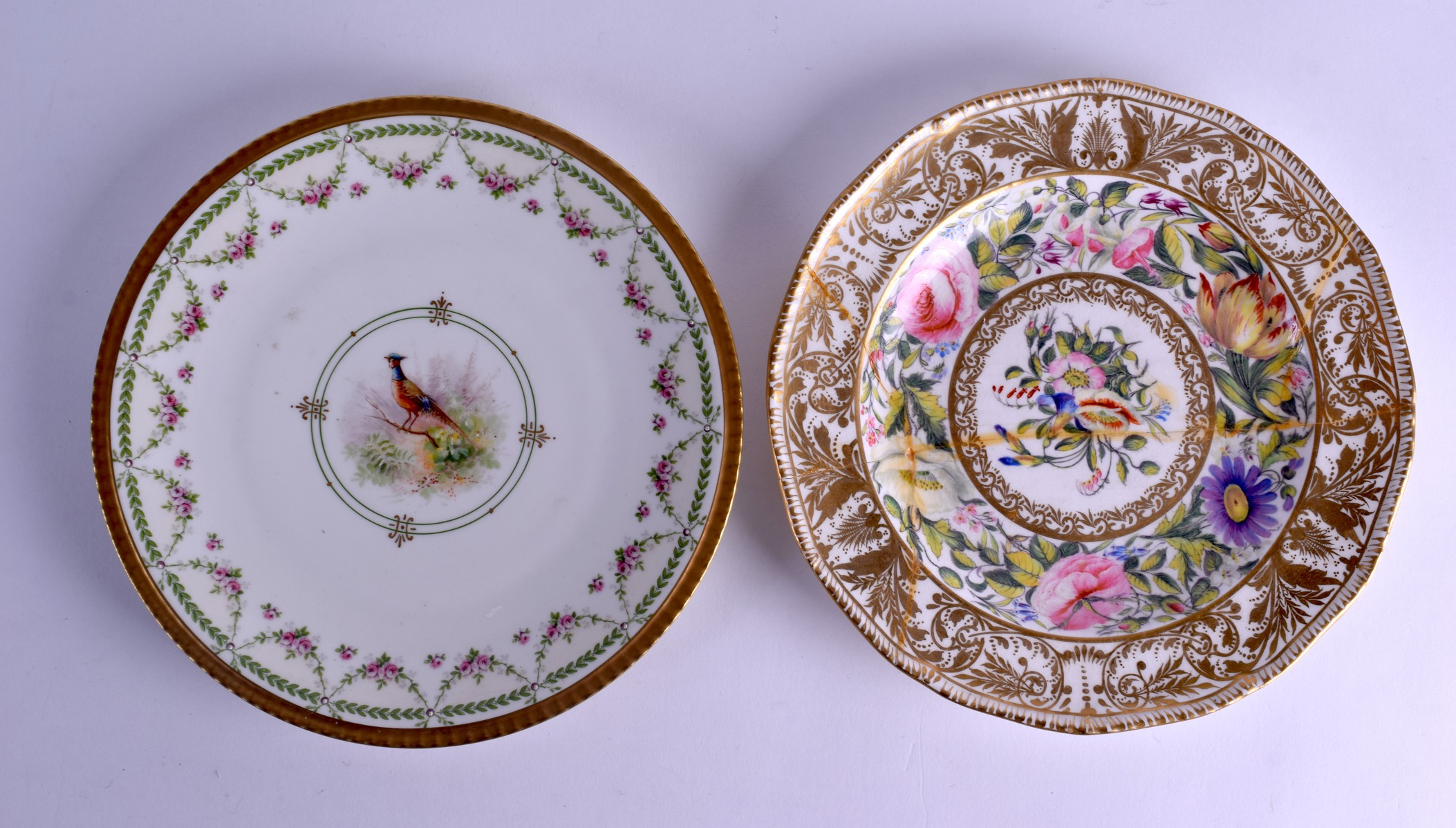 Lot 112 - A 19TH CENTURY FRENCH LIMOGES PORCELAIN PLATE together with a Derby King street plate. 23 cm