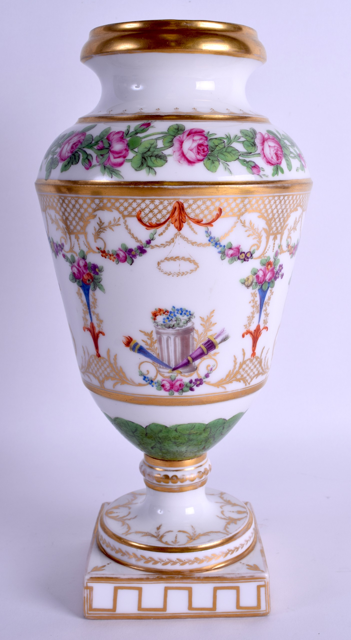 Lot 104 - AN EARLY 19TH CENTURY EUROPEAN PORCELAIN VASE painted with rows of roses within scrolling gilt
