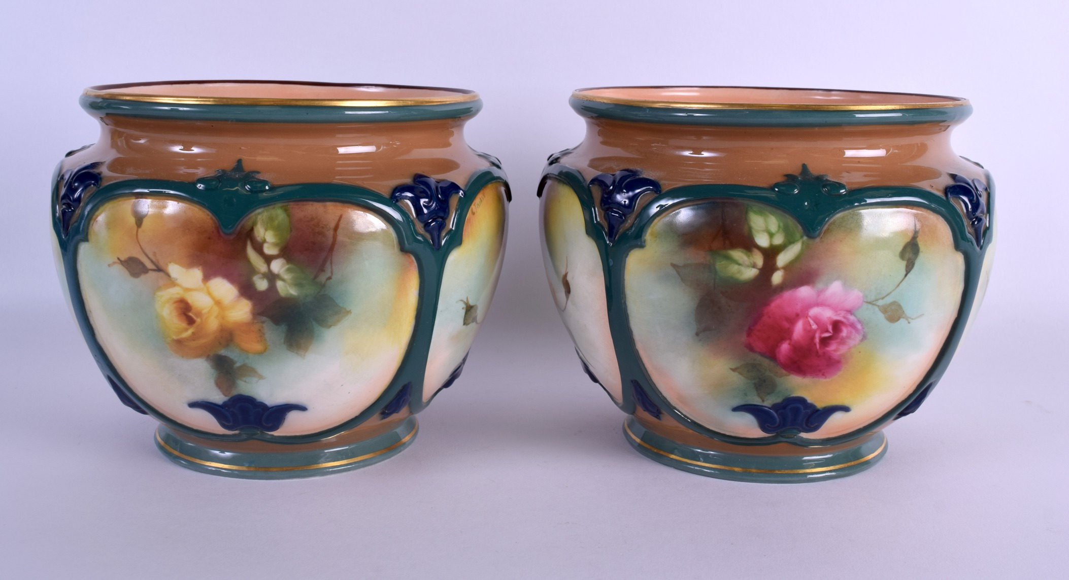 Lot 58 - A GOOD PAIR OF 19TH CENTURY ROYAL WORCESTER PORCELAIN BOWLS painted with rose buds by C Tisdale.