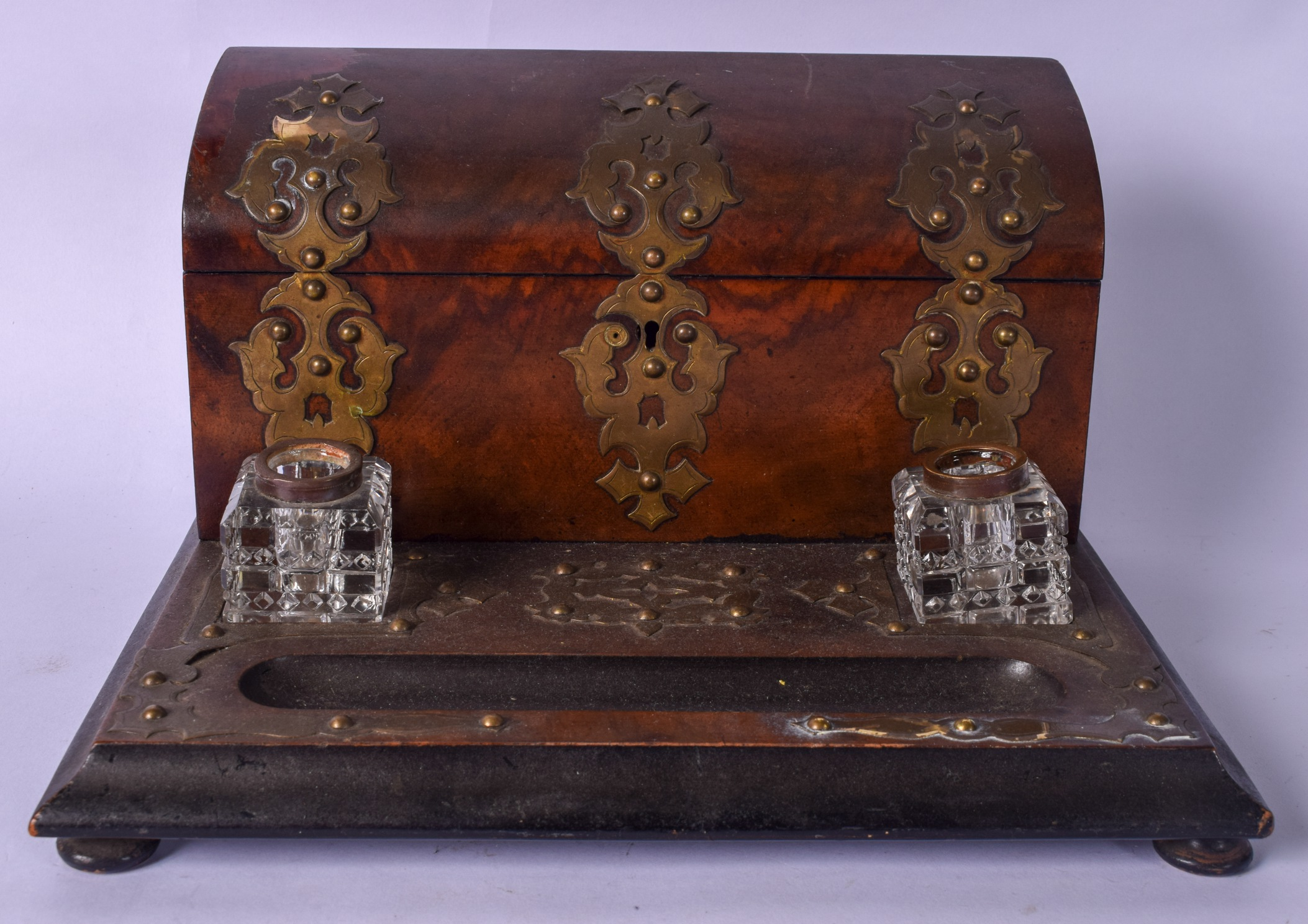 Lot 2530 - A VICTORIAN WALNUT STATIONARY CASKET WITH INKWELL BY CORMACK BROTHER'S, 37 LUDGATE HILL LONDON,