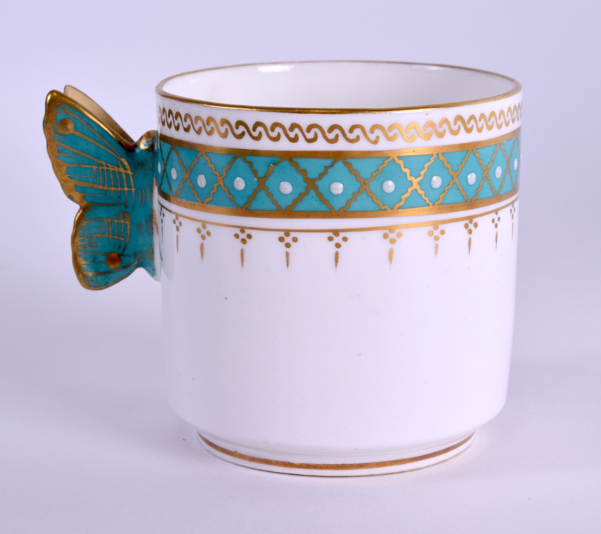 Lot 100 - A LATE 19TH CENTURY ENGLISH AESTHETIC MOVEMENT CUP AND SAUCER Attributed to Minton or Bodley, set