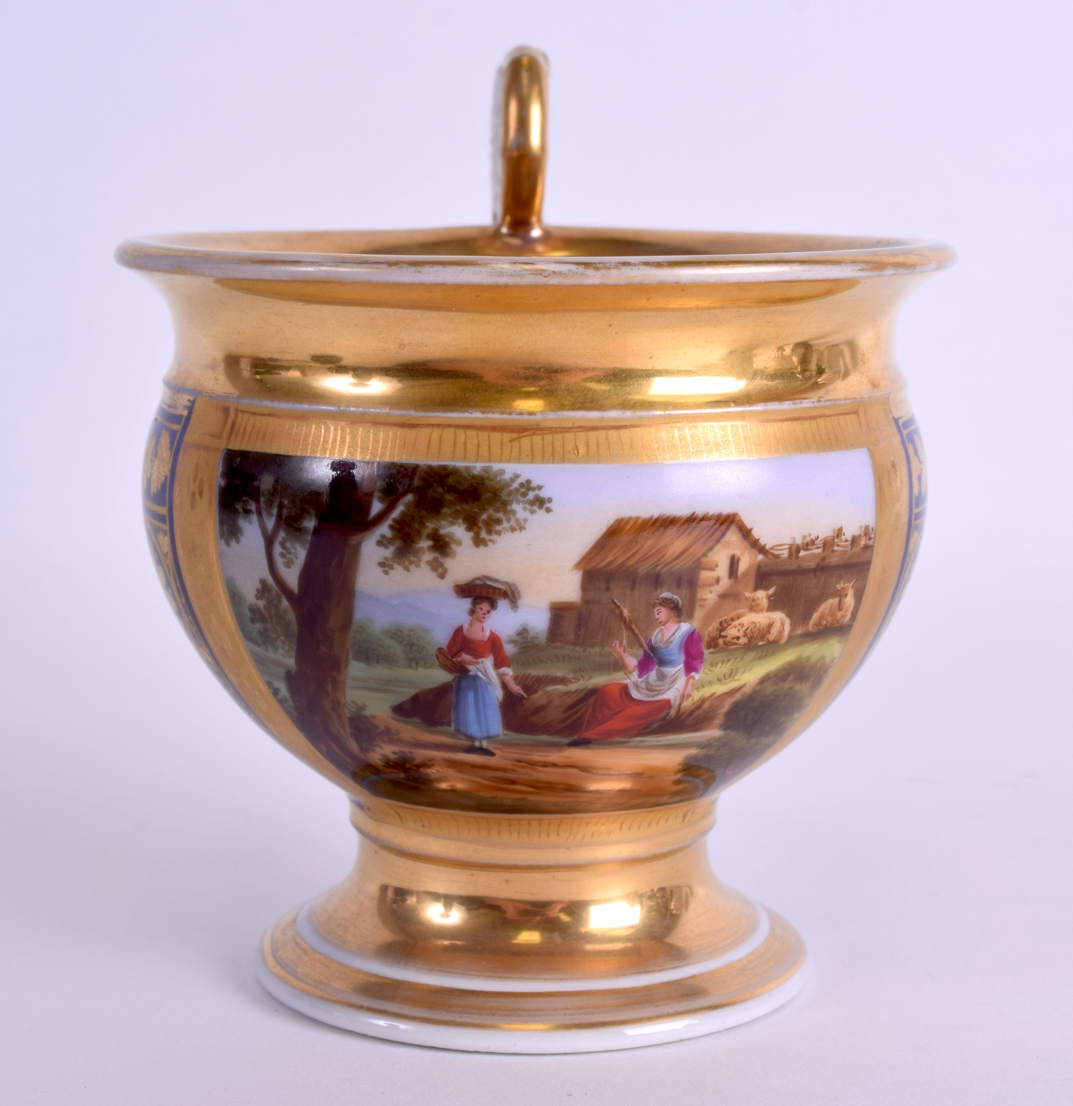 Lot 92 - A LARGE MID 19TH CENTURY FRENCH PORCELAIN CABINET CUP painted with two figures within landscapes. 13