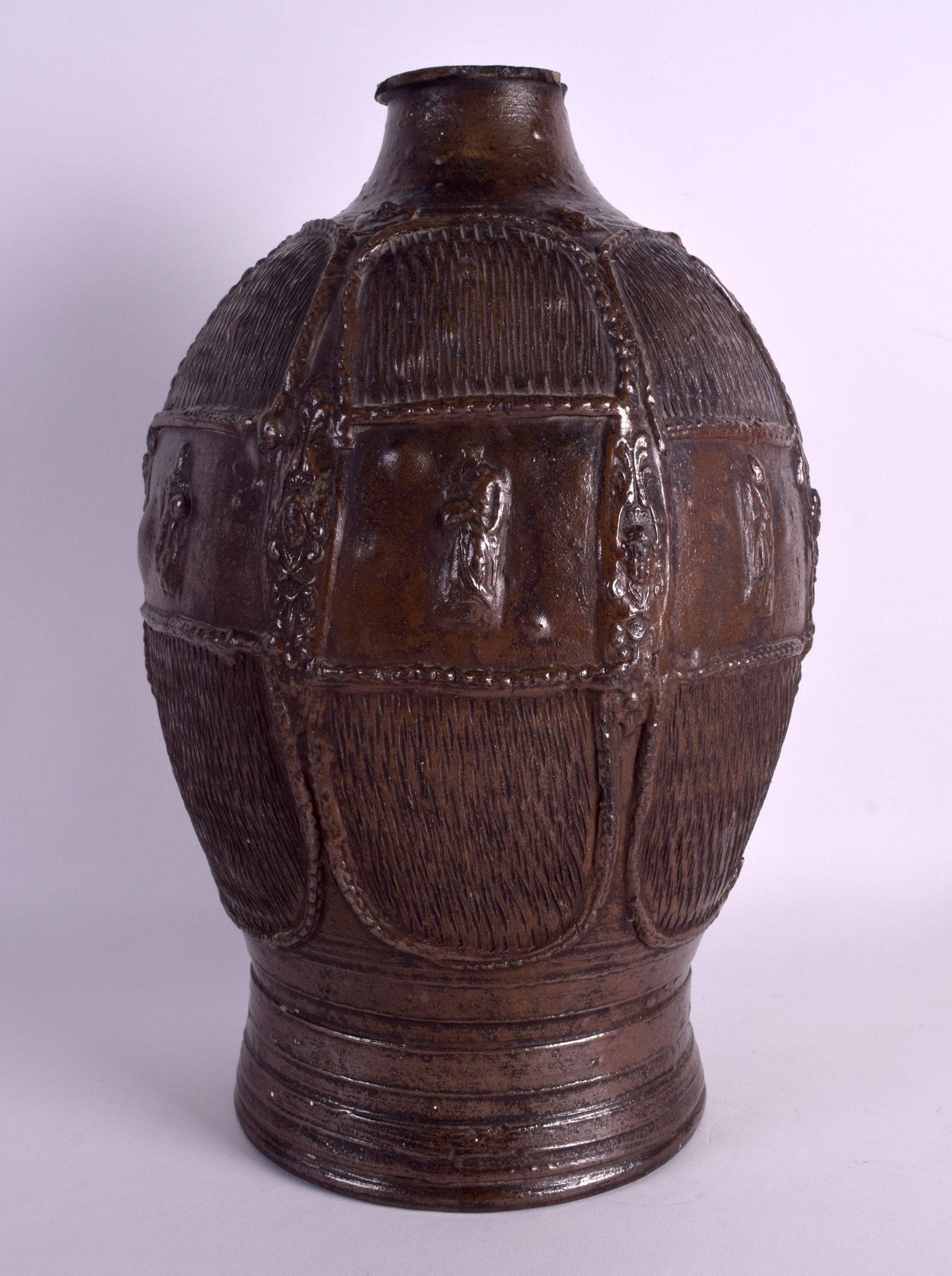 Lot 105 - A LARGE AND RARE 17TH/18TH CENTURY GERMAN STONEWARE VESSEL decorated in relief with figures and
