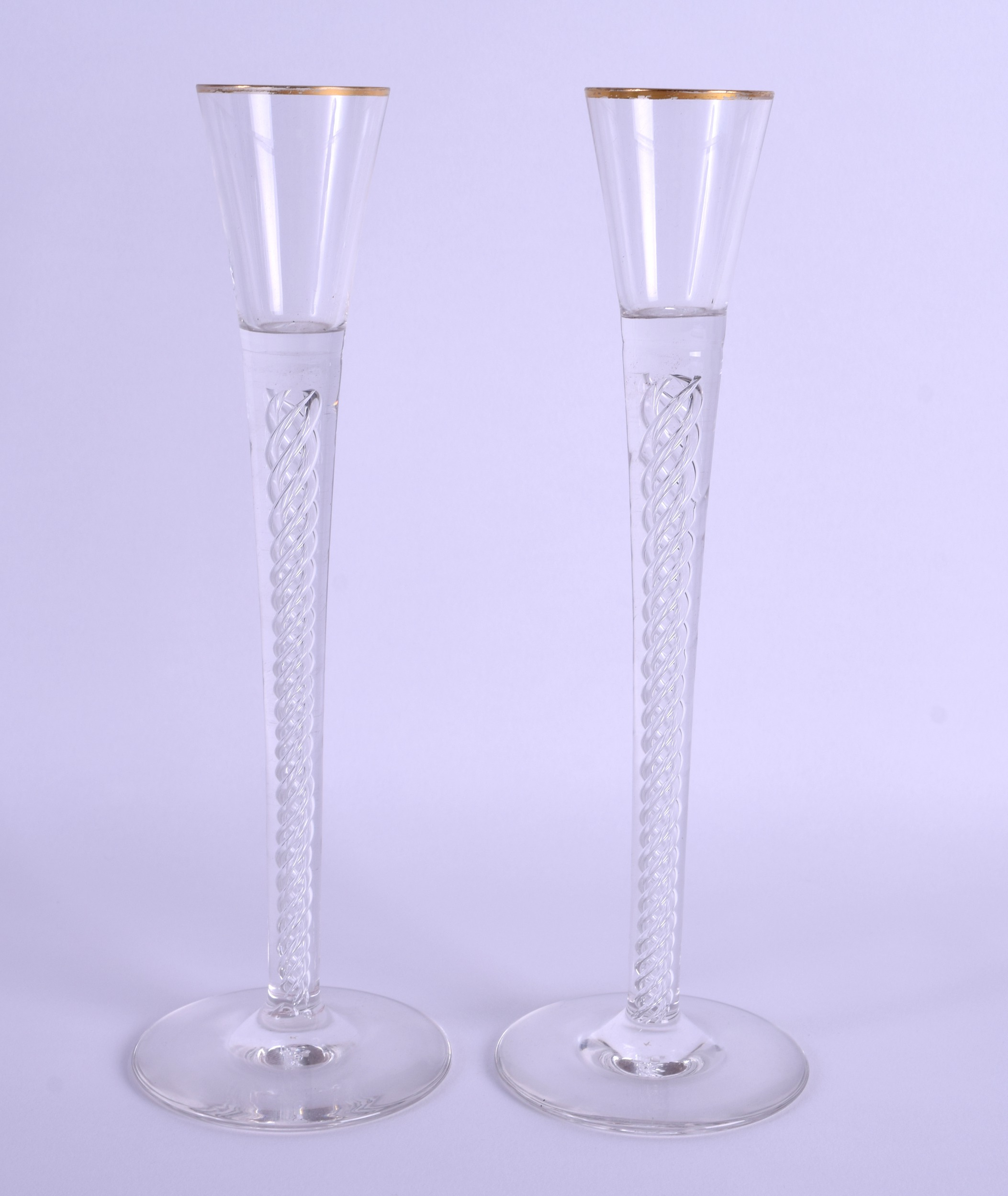 Lot 13 - A PAIR OF GEORGE III STYLE LIQUOR GLASSES with spiral twist stems. 24 cm high.