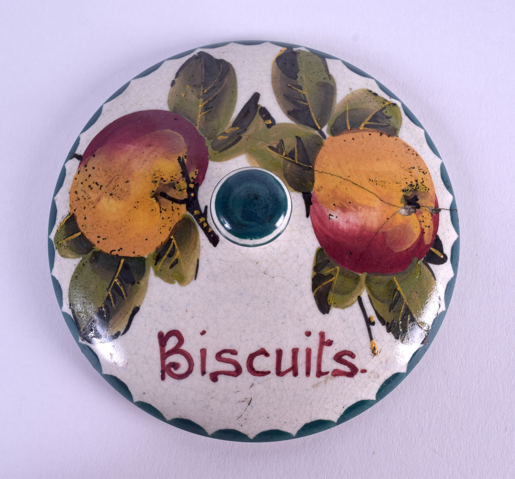 Lot 56 - A SCOTTISH WEMYSS POTTERY BISCUIT BOX AND COVER painted with fruit. 13 cm x 9 cm.