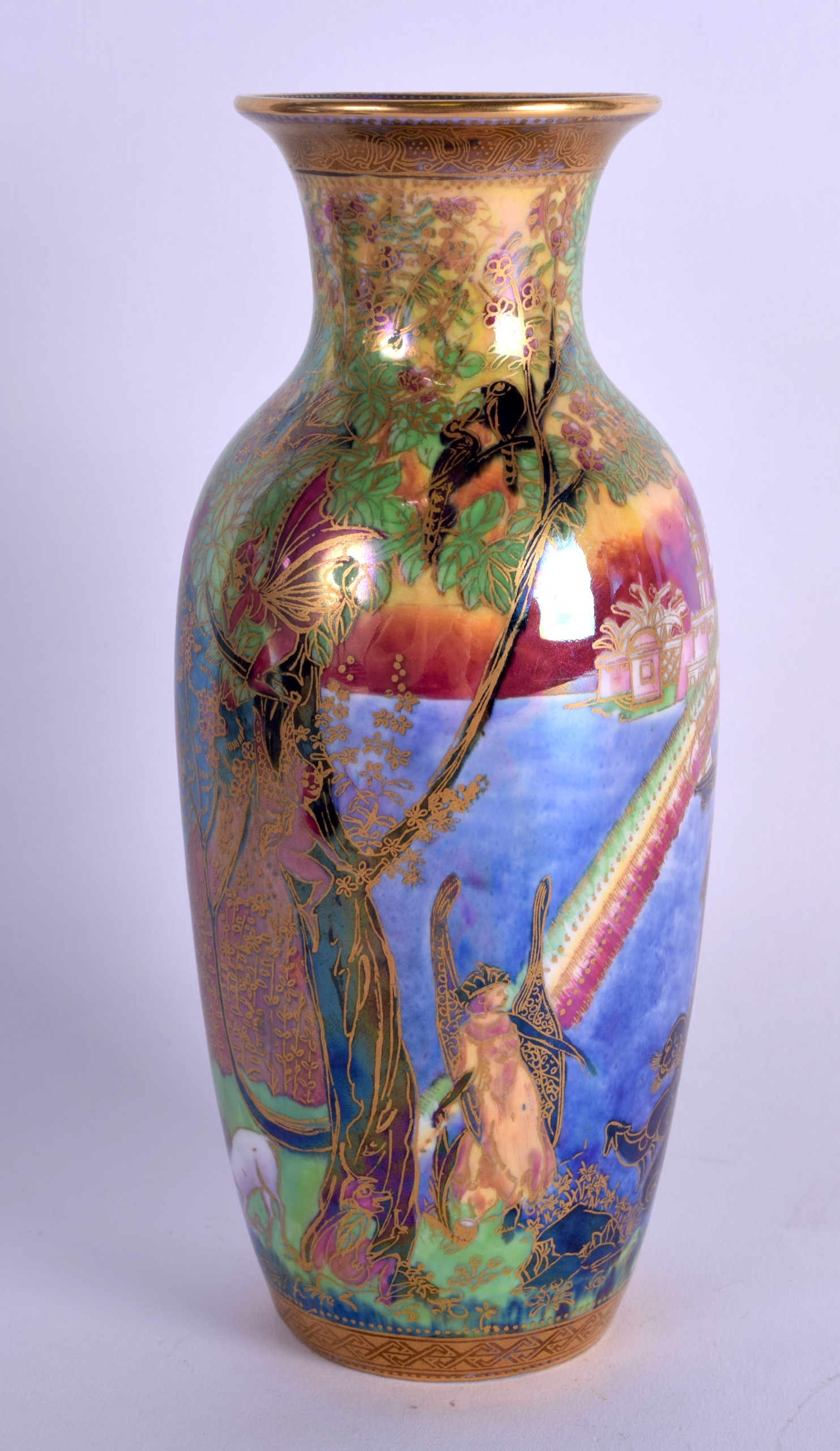 Lot 113 - A RARE WEDGWOOD FAIRYLAND LUSTRE PORCELAIN VASE by Daisy Makeig Jones, painted pixies and mythical