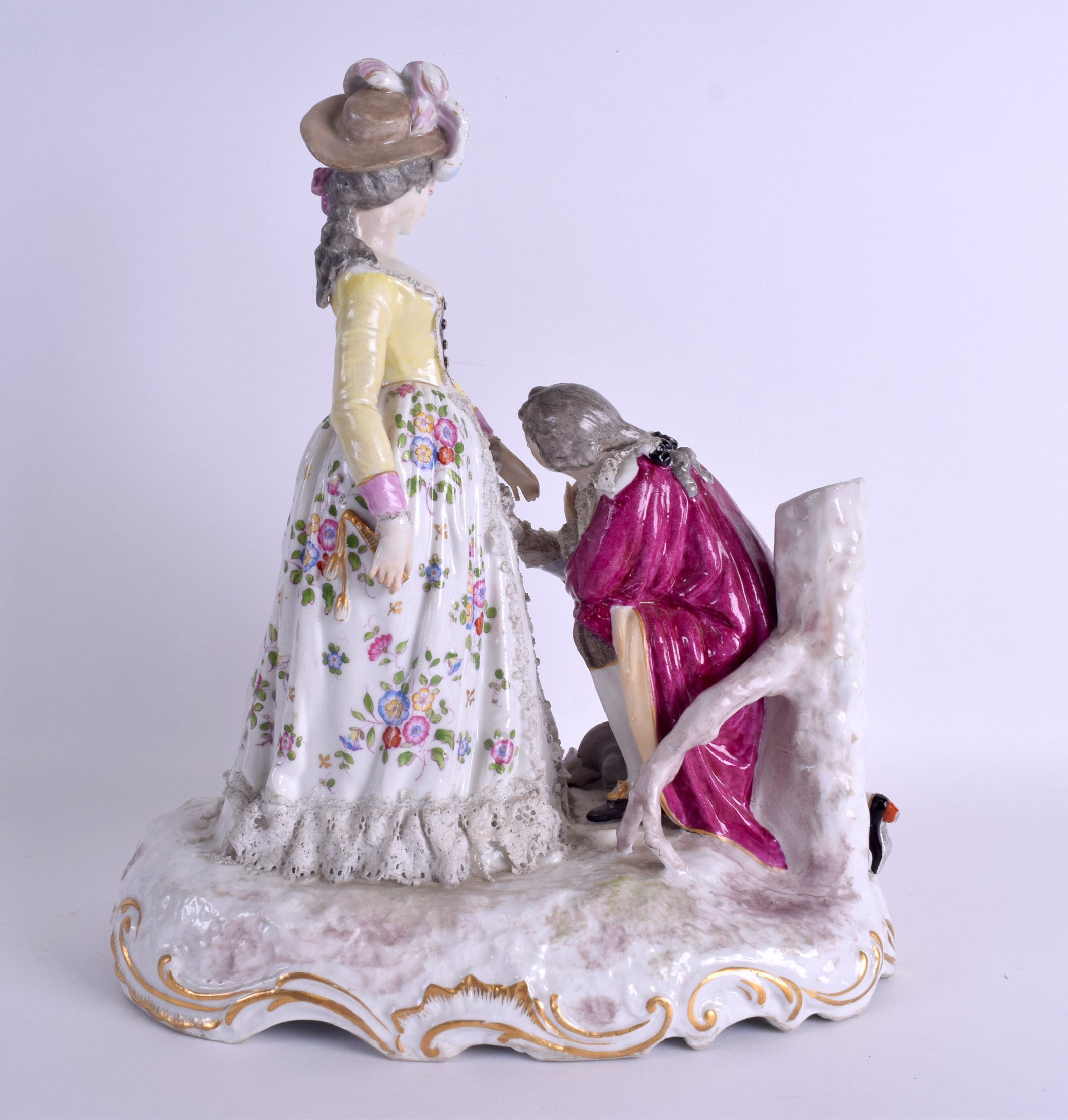 Lot 108 - A LARGE 19TH CENTURY GERMAN DRESDEN PORCELAIN FIGURAL GROUP modelled as a male kneeling before a