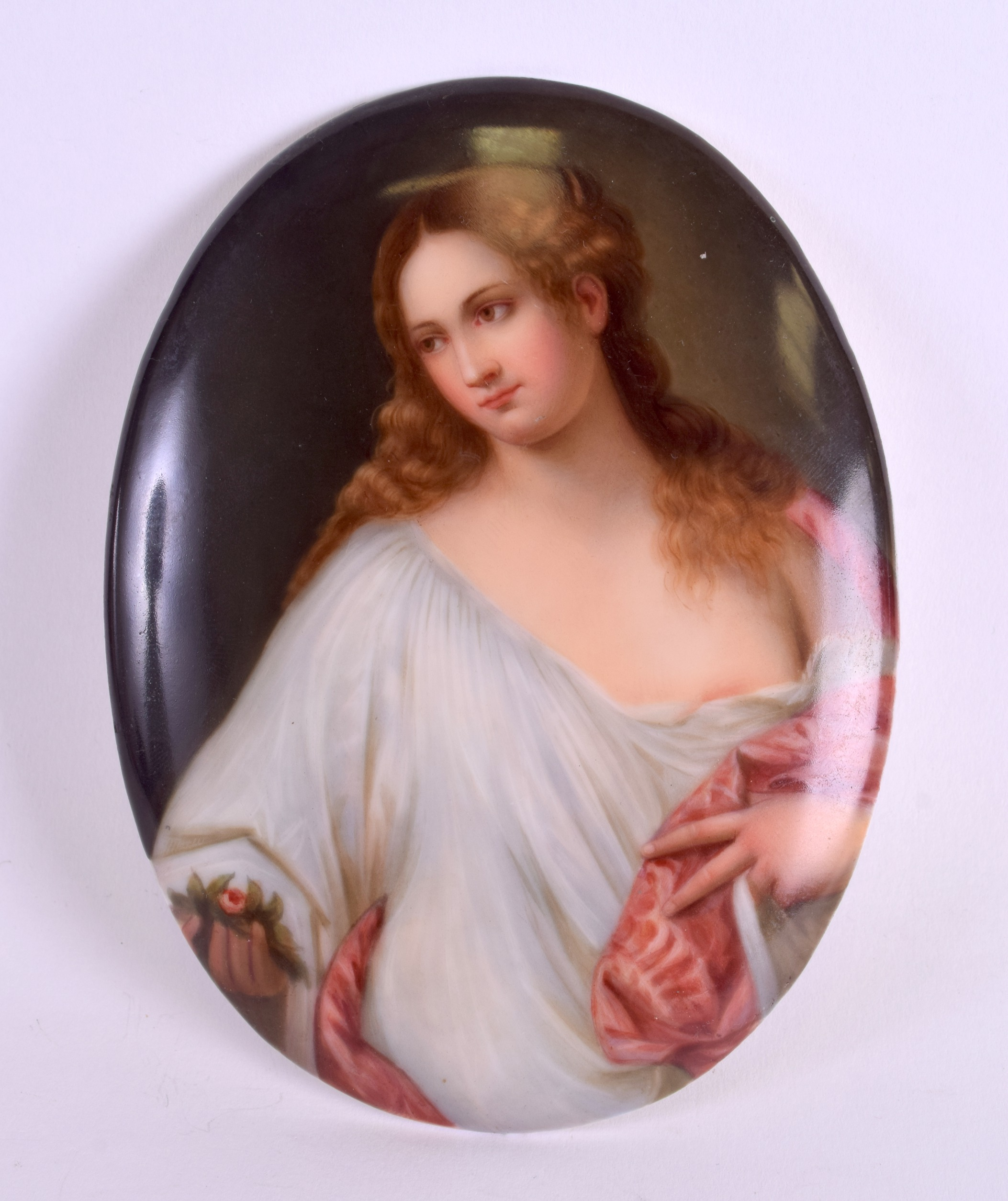 Lot 70 - A LATE 19TH CENTURY GERMAN PORCELAIN PLAQUE painted with a female wearing a white and red robe. 11