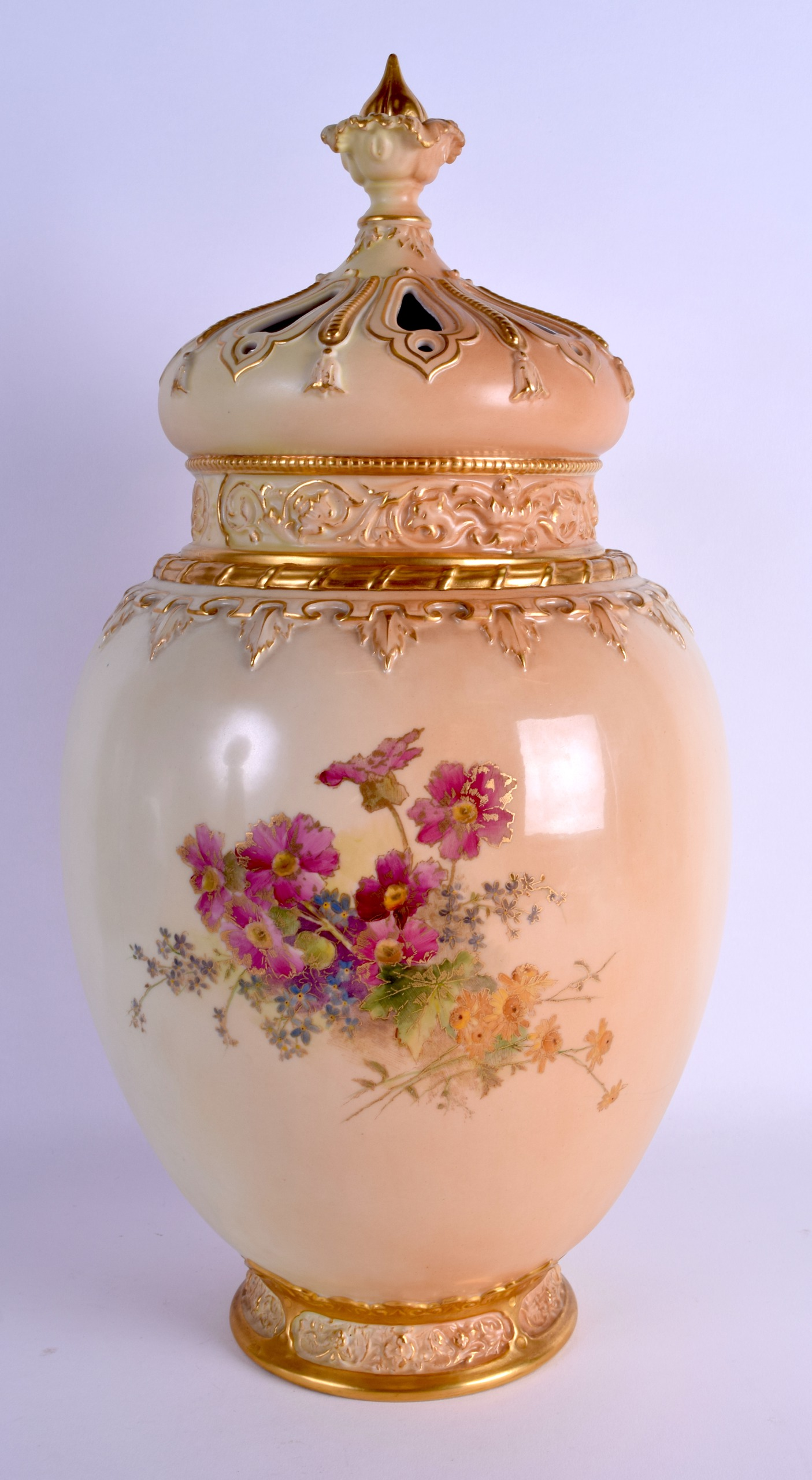 Lot 62 - A HUGE 19TH CENTURY ROYAL WORCESTER BLUSH IVORY VASE AND COVER with inner cover, finely painted with