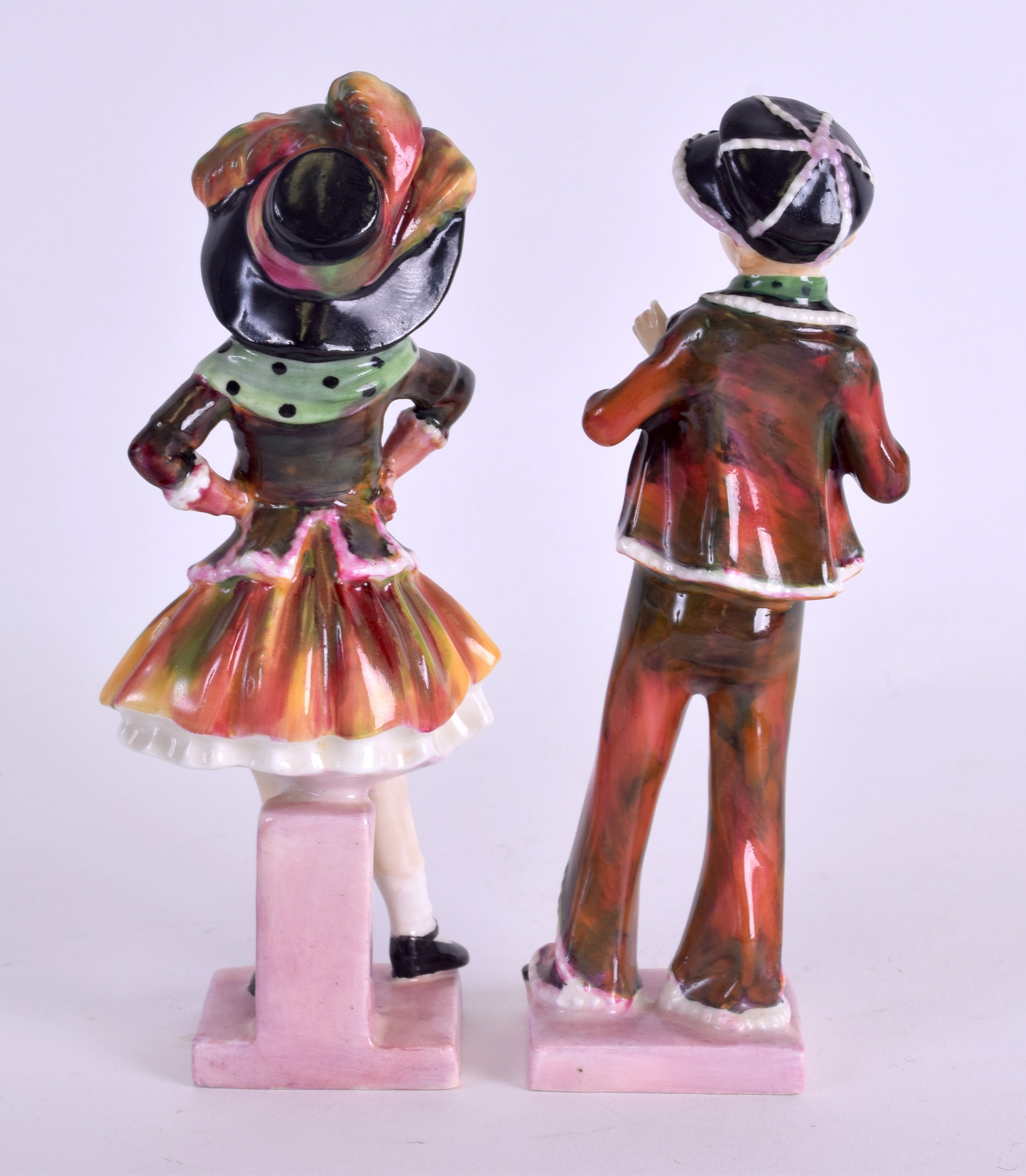 Lot 72 - A PAIR OF ROYAL DOULTON FIGURES 'PEARLY BOY & PEARLY GIRL' HN 1482 & 1483. 14 cm high.