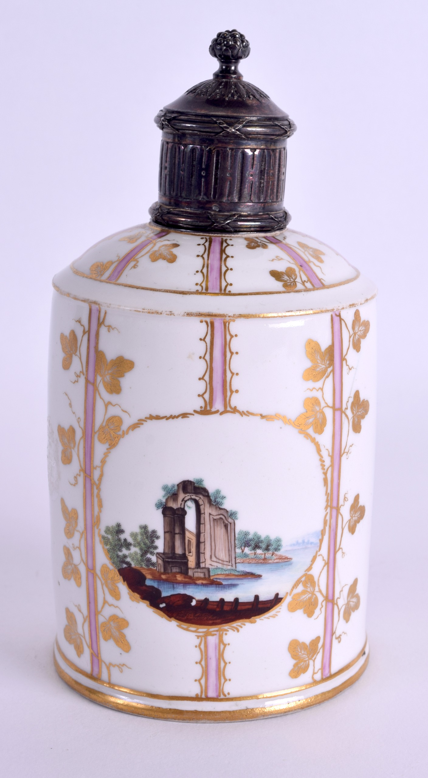 Lot 93 - AN 18TH CENTURY GERMAN PORCELAIN TEA CANISTER with silver cover, painted with towns in the Meissen