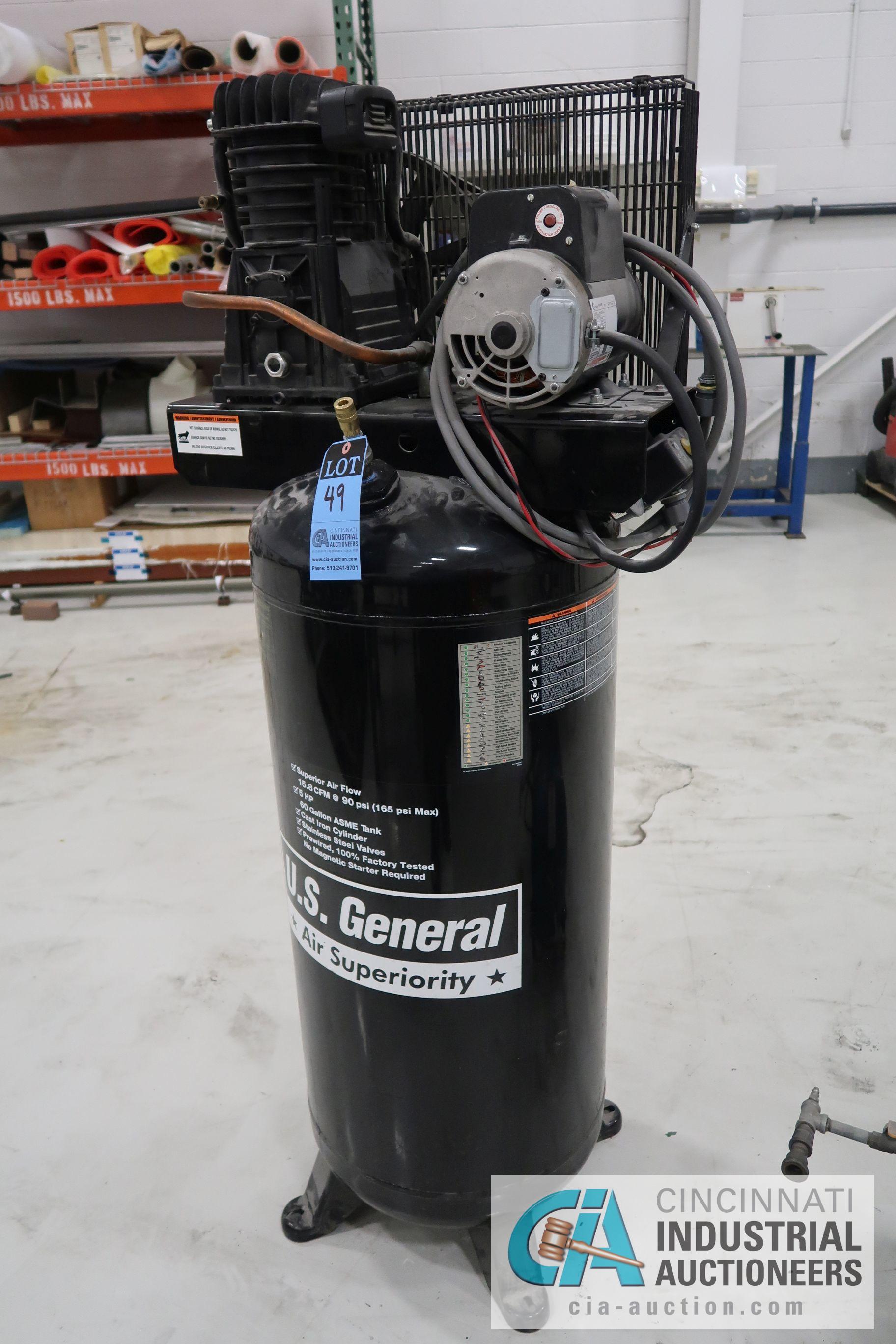 5 HP US GENERAL HORIZONTAL TANK MOUNTED AIR COMPRESSOR, 60 GAL. TANK, 230 VOLT