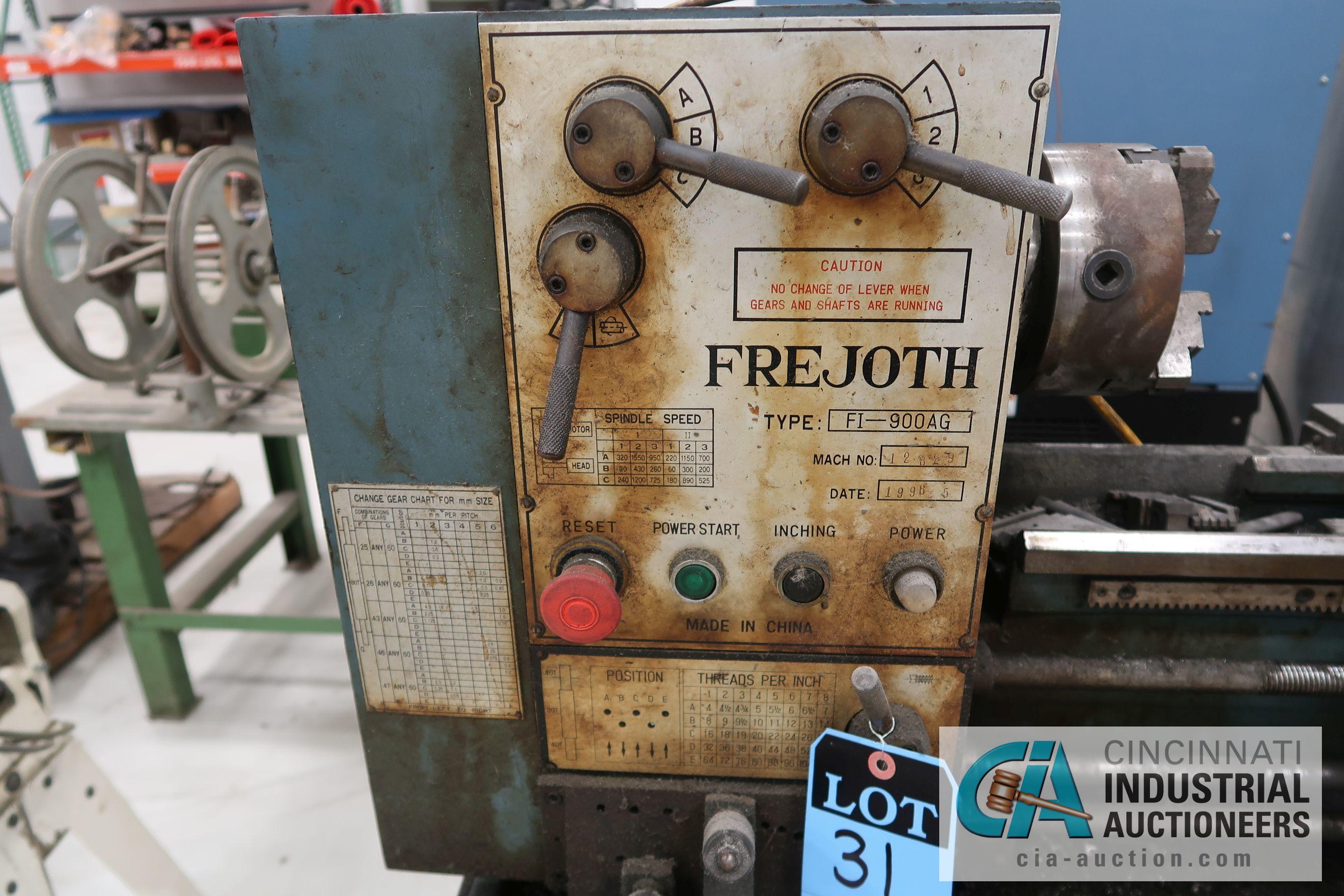"""13"""" X 32"""" FREJOTH TYPE FI-900AG IAN SIZE ENGINE LATHE; S/N 12829, 220 VOLT (1996) - Image 2 of 6"""