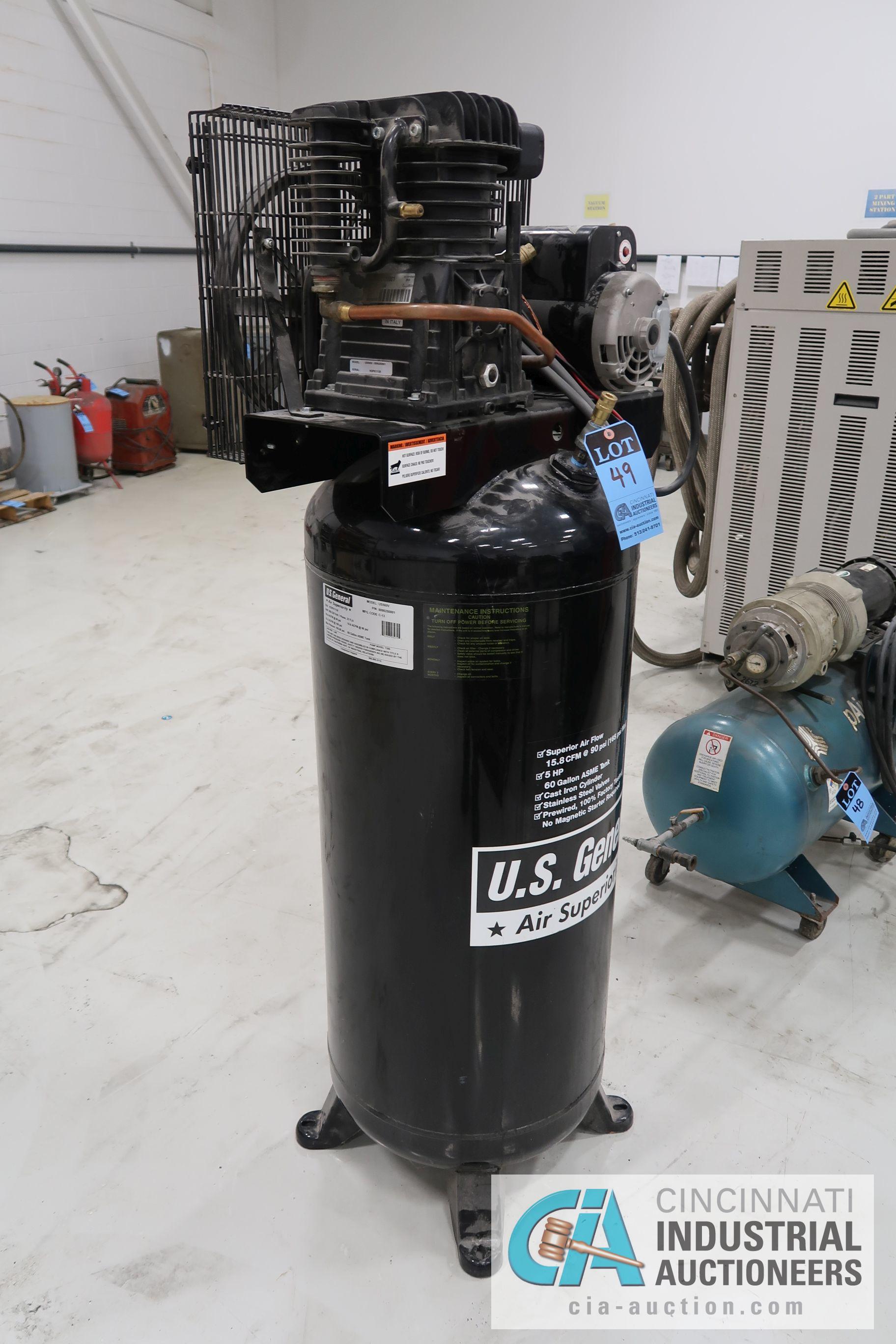 5 HP US GENERAL HORIZONTAL TANK MOUNTED AIR COMPRESSOR, 60 GAL. TANK, 230 VOLT - Image 2 of 4