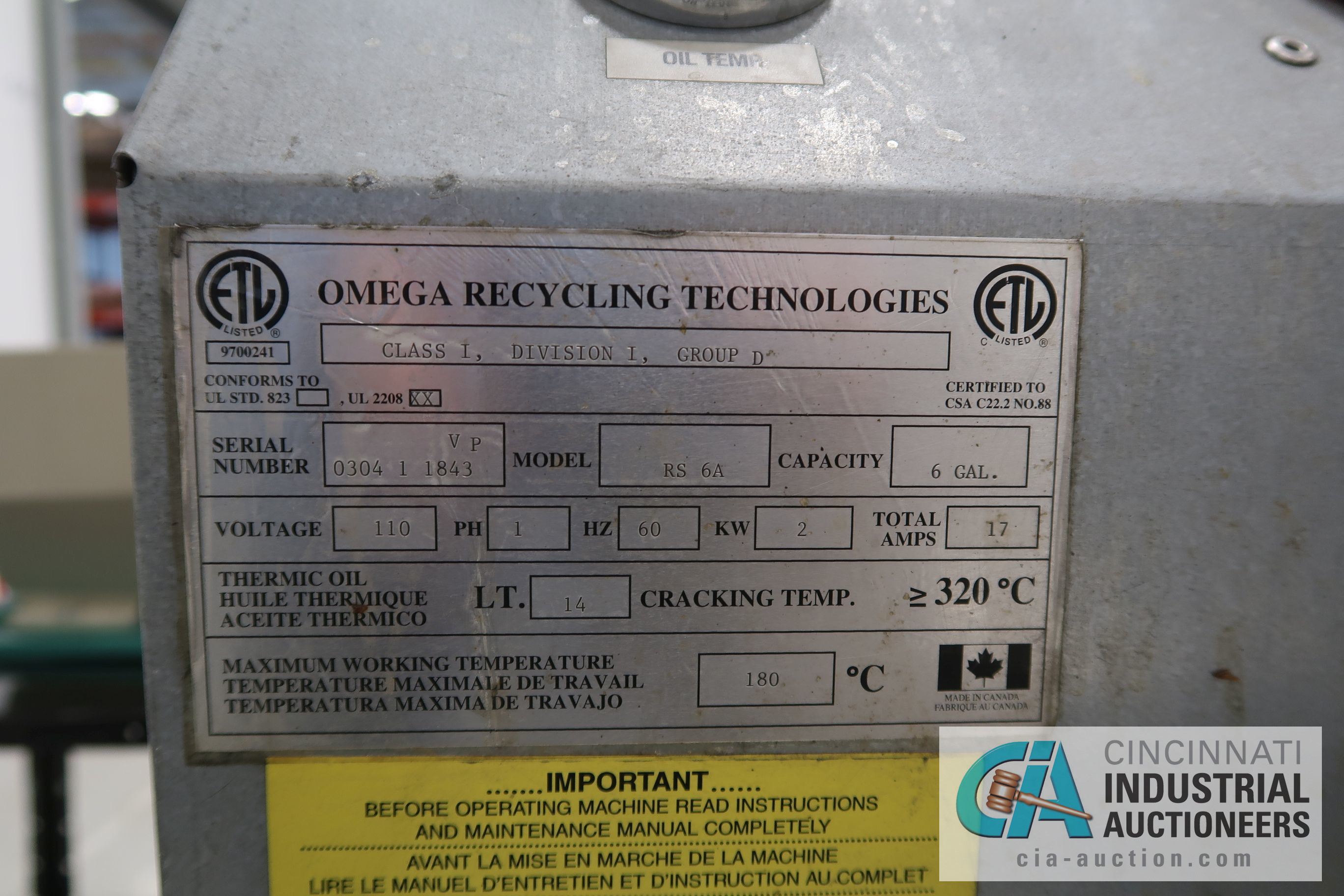 6 GAL. OMEGA RECYCLING TECHNOLIGES MODEL RS-6A SOLVENT RECOVERY UNIT; S/N 0304-1843VP - Image 4 of 5