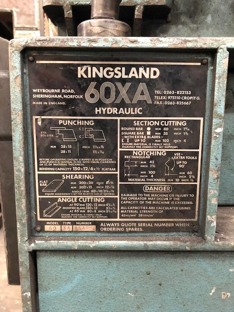 Lot 1 - KINGSLAND Model 60 Type XA hydraulic steelworker s/no: 854096 (2001) Note: Risk Assessment and