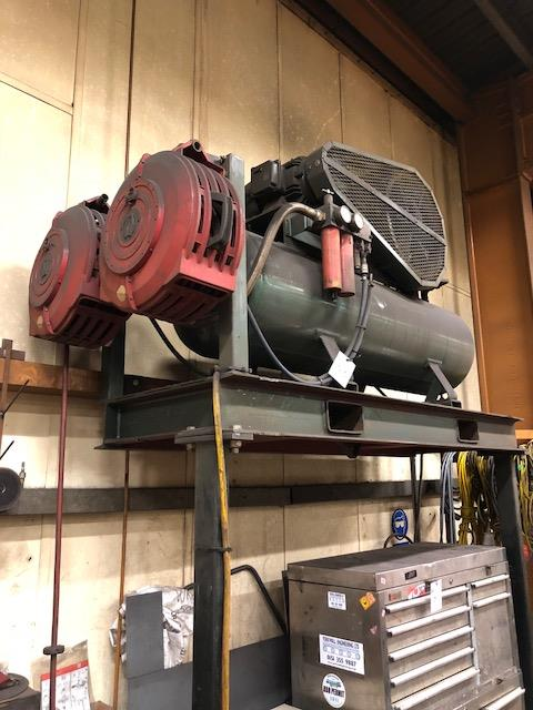 Lot 53 - Receiver mounted air compressor with two pneumatic hose feeder reels, on steel support structure