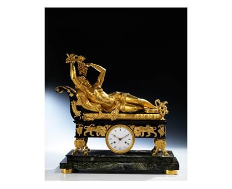 """Bedeutende und in höchster Qualität gefertigte Empire-Kaminuhr mit figürlicher Gestaltung von Claude Galle (1759 """""""" 1815"""