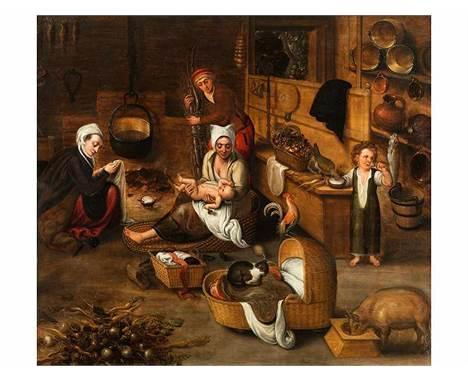 """Marten van Cleve, 1527 Antwerpen """""""" 1581 FAMILIENSZENE IN EINEM FLÄMISCHEN HAUS Öl auf Eichenholz. 76 x 84,5 cm. Beigege"""