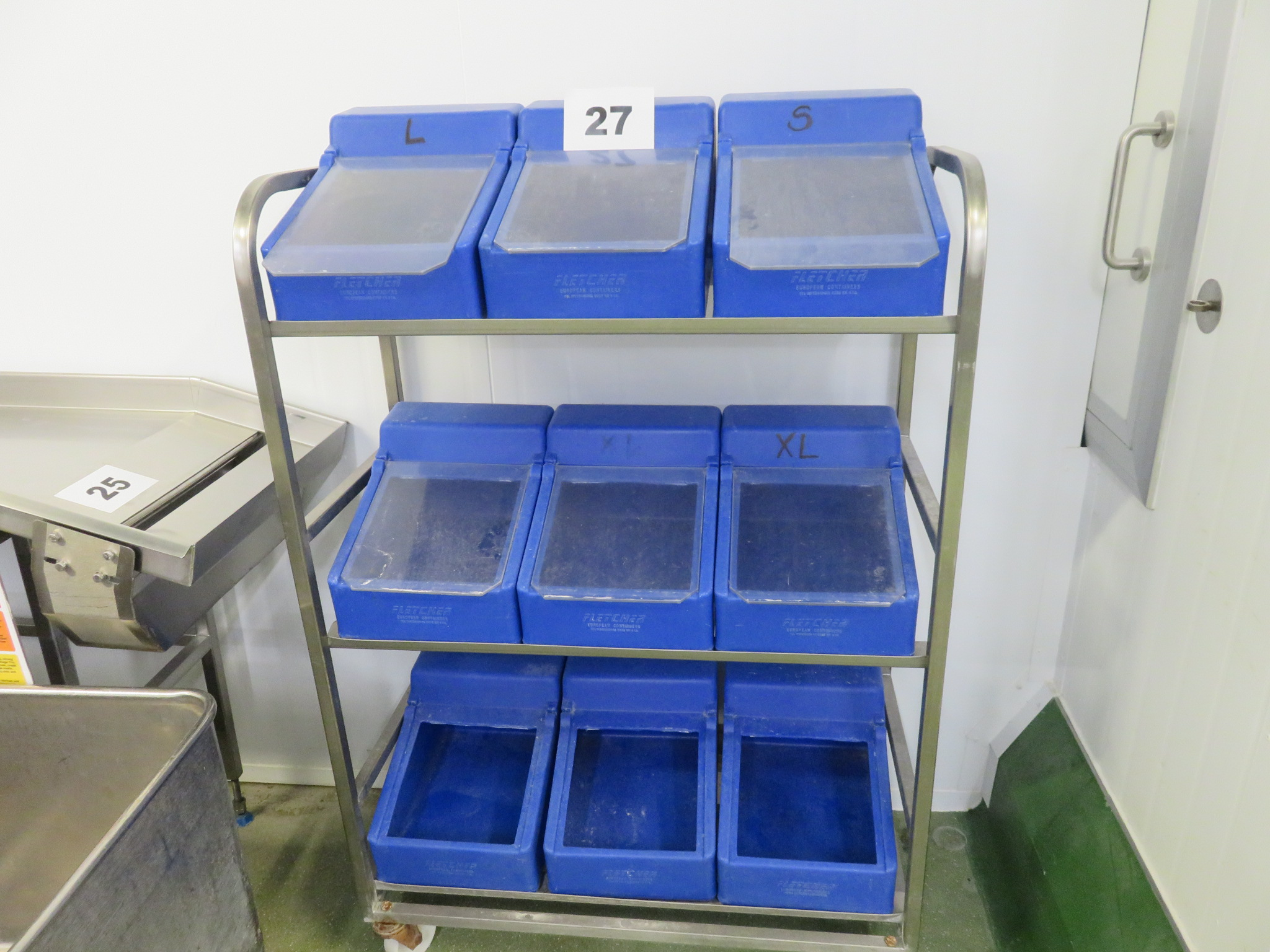 Lot 27 - S/s trolley and contents. LO £15.