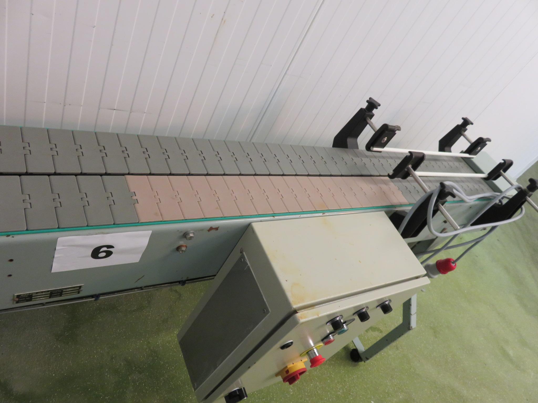 Lot 6 - 2-lane conveyor approx. 100 mm wide x 2 m long. LO £30.