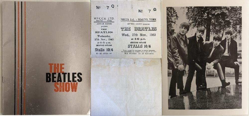 Lot 339 - BEATLES UNUSED RIALTO YORK 1963 TICKET & PROGRAMME.