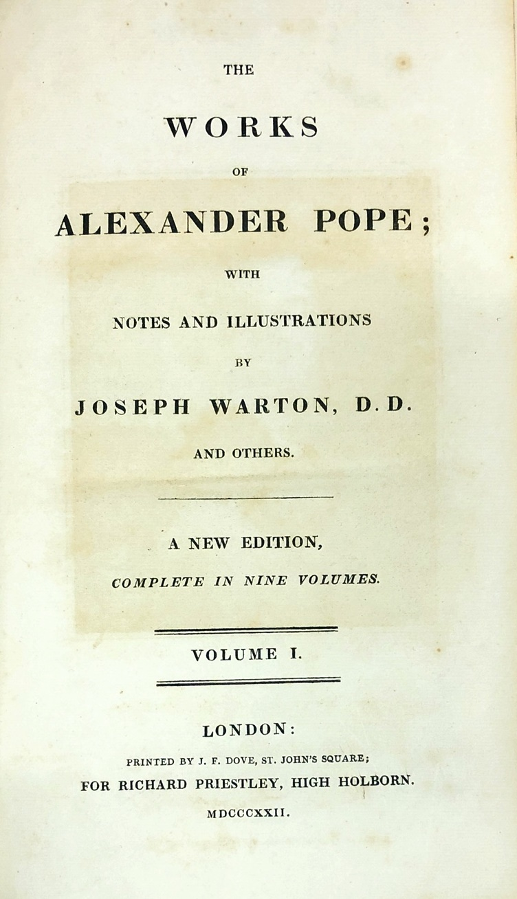 Lot 46 - Bindings: Pope - Warton (Joseph)ed. etc. The Works of Alexander Pope: with Notes and Illustrations.
