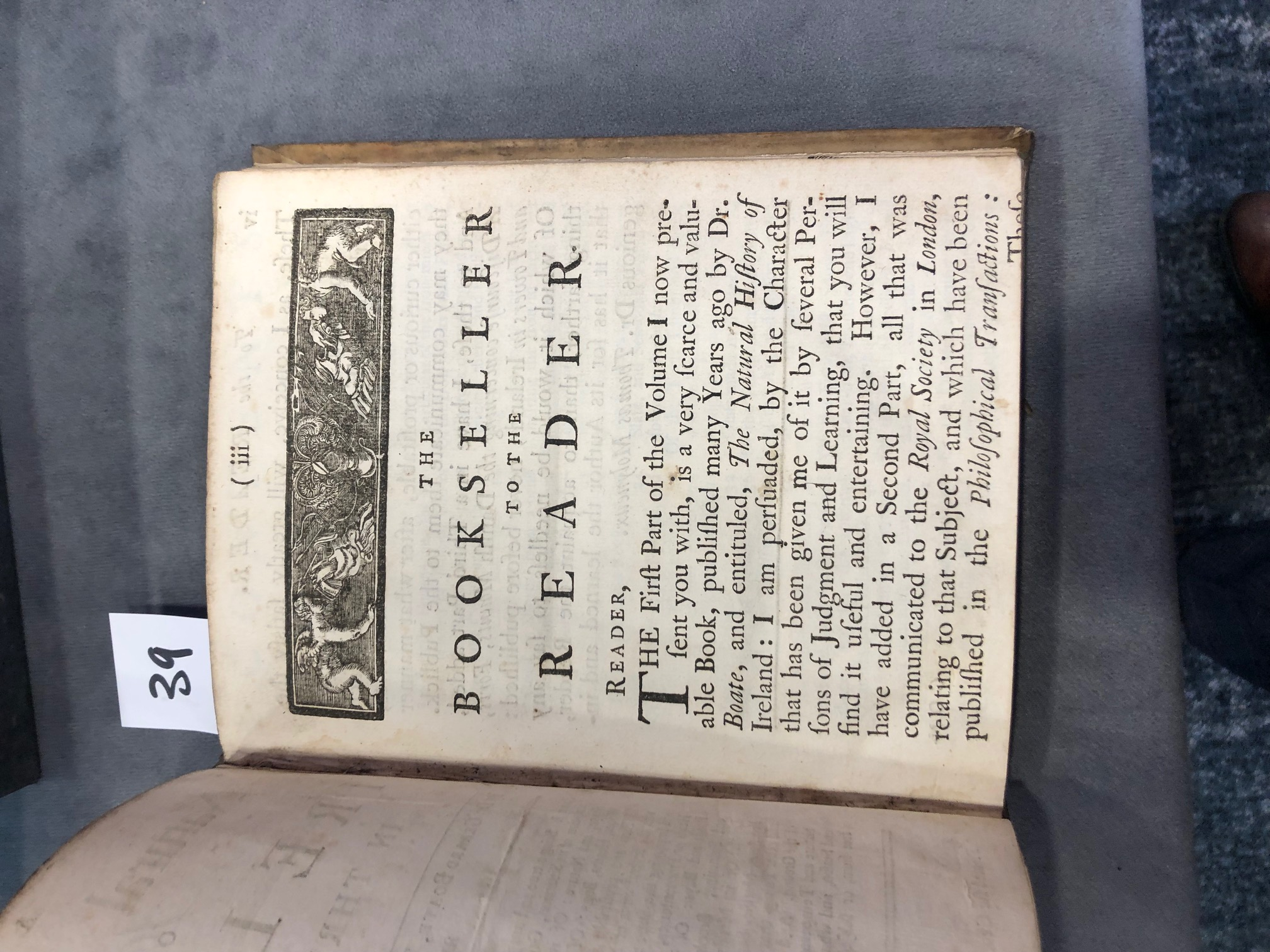 Lot 39 - Inscribed by Geo. Stephenson, Lisburn Boate (Gerard), Molineux (T.