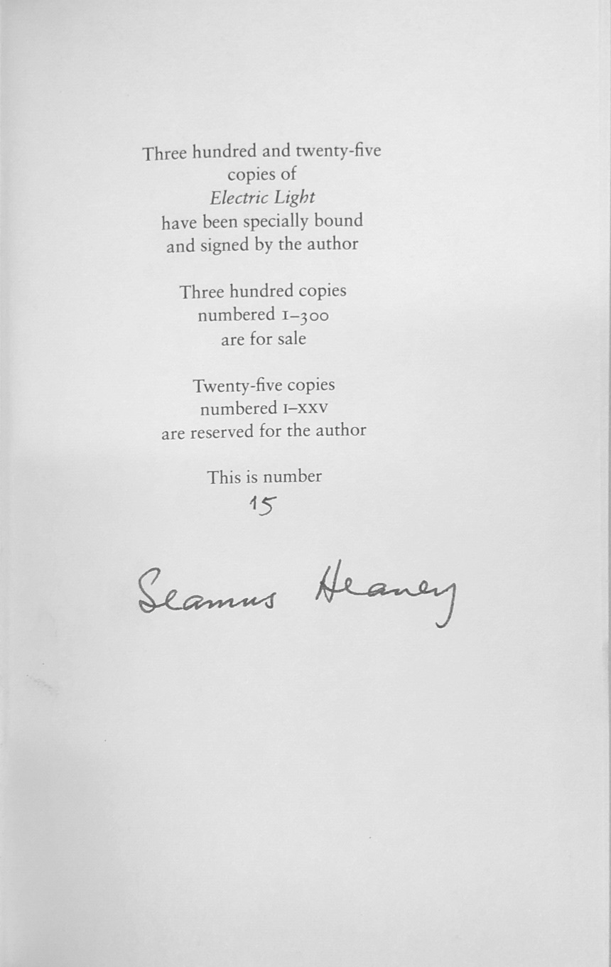 Lot 32 - Heaney (Seamus) Electric Light, L. 2001. First Limited Edn., No.