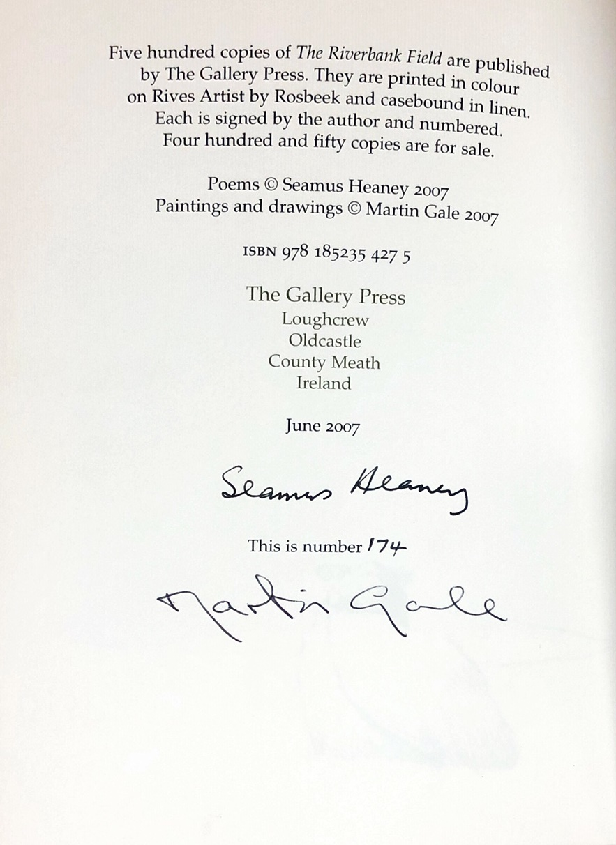 Lot 33 - Signed Limited Edition Heaney (Seamus) The Riverbank Field, illustrated by Martin Gale. Lg.