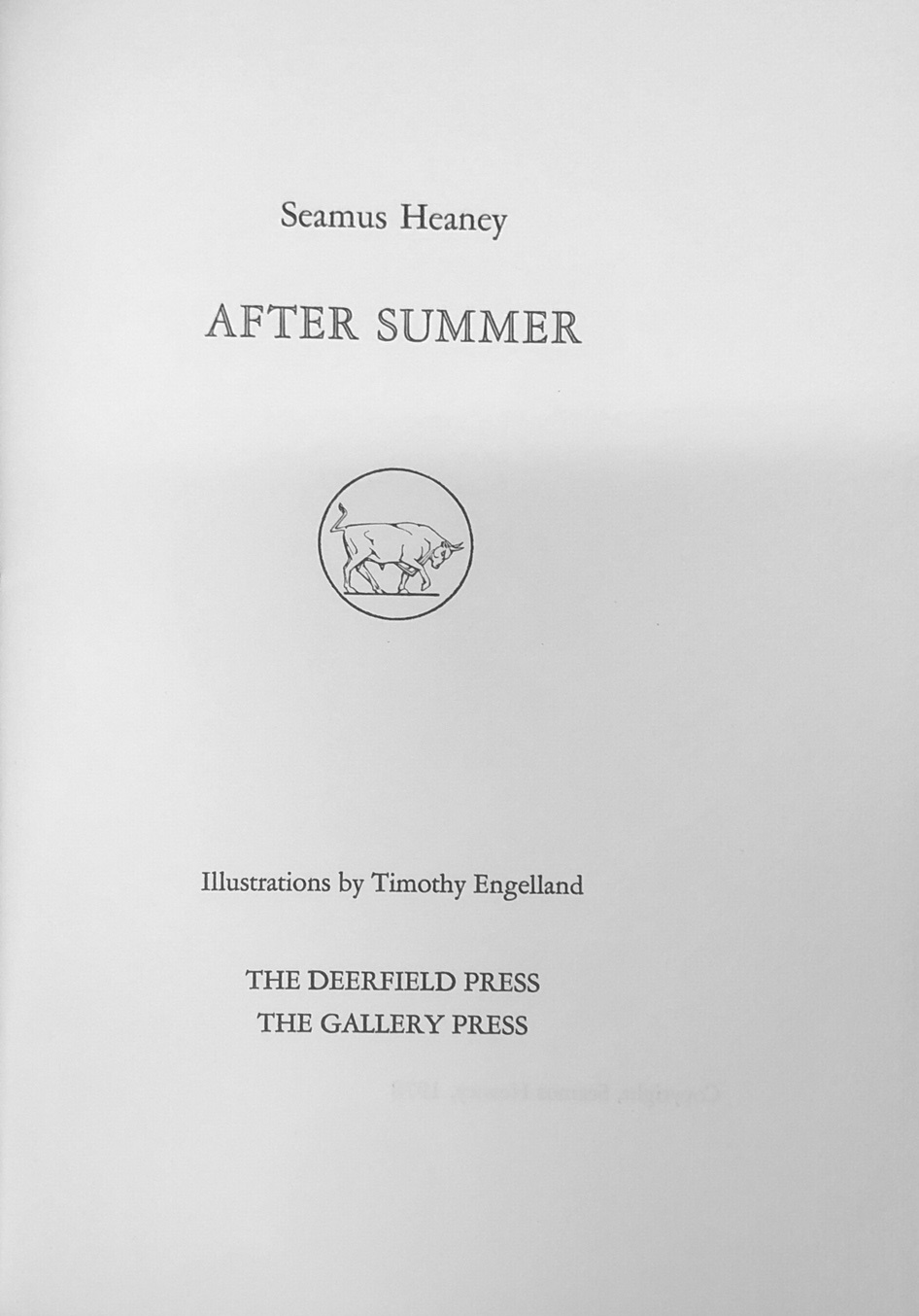 Lot 31 - Heaney (Seamus) After Summer, roy 8vo Deerfield and Gallery Press 1978. Limited Edn.