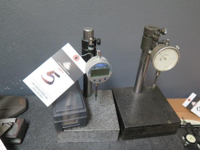 """6"""" x 6"""" Granite Indicator Bases w/ Digital and Dial Indicators (2)"""