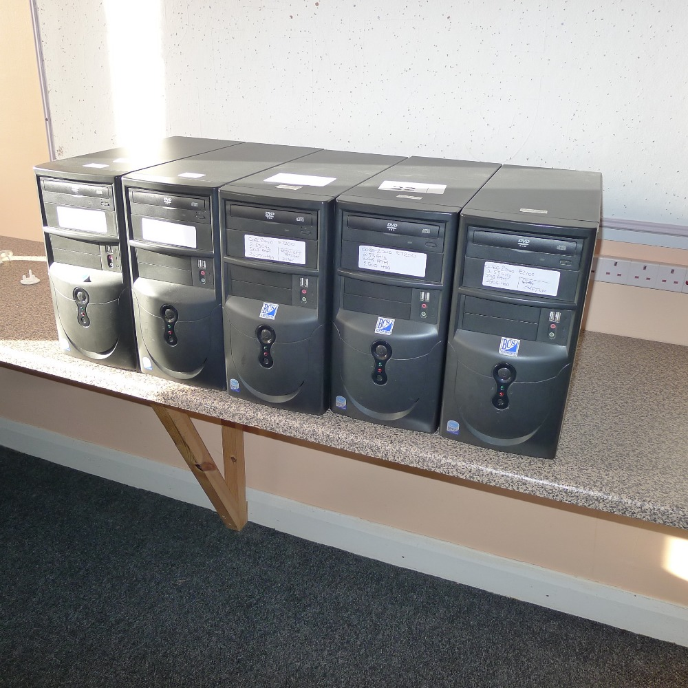 Lot 22 - 5 desktop computers (no screens, keyboards, mice or operating systems) (located in junior school