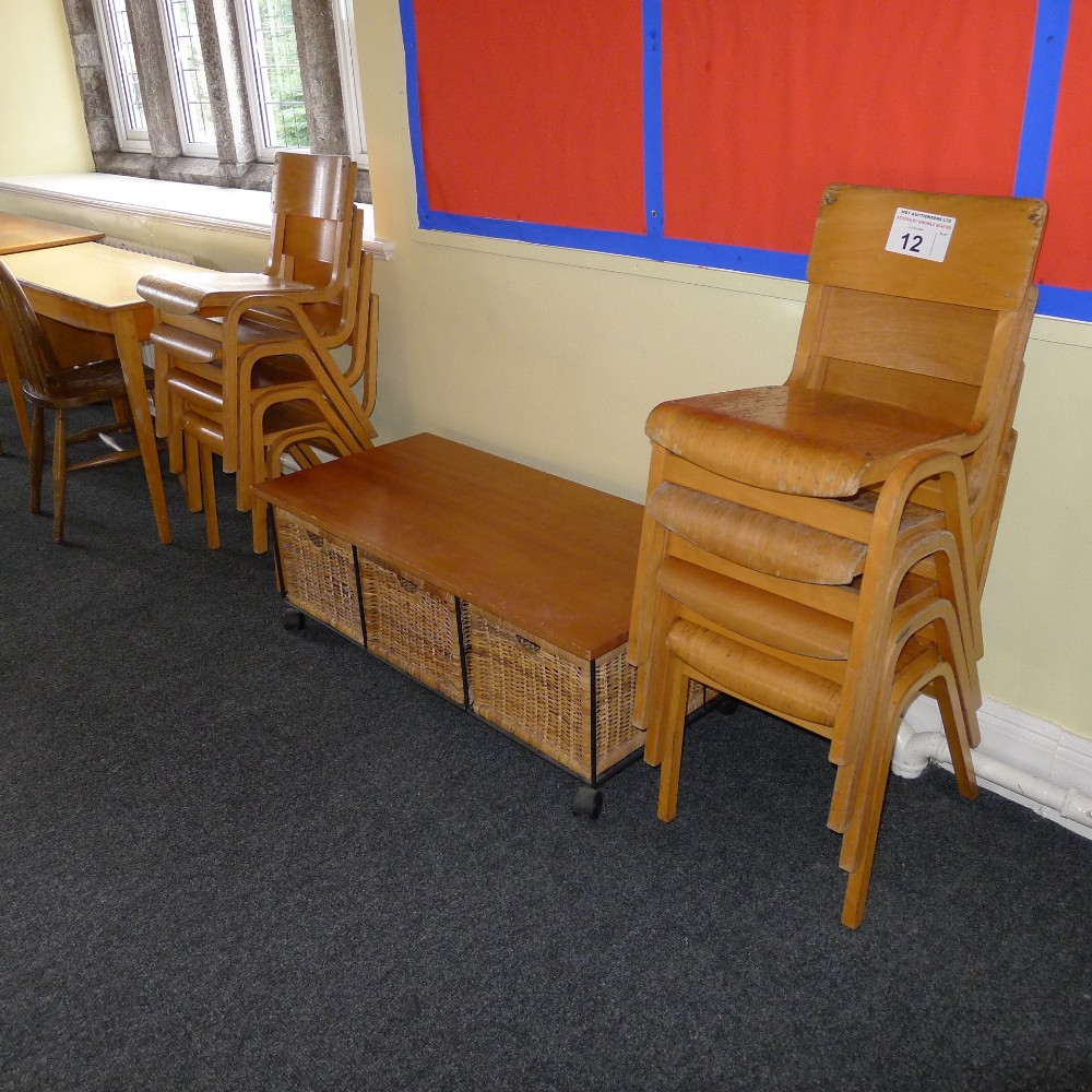 Lot 12 - a qty. of misc. junior school furniture including; desks, cupboards and chairs (located in junior