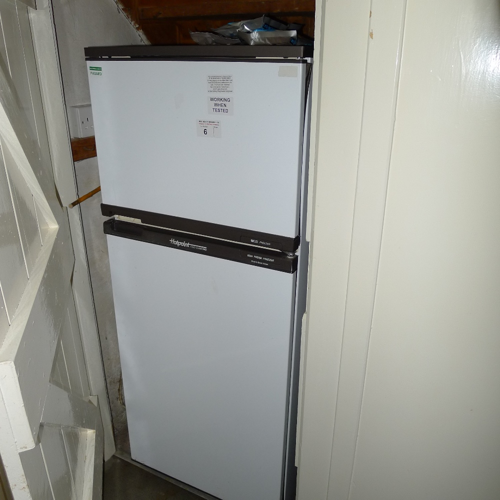 Lot 6 - 1 HOTPOINT Iced Diamond upright domestic fridge/freezer, 2 stainless steel effect microwave ovens, 1