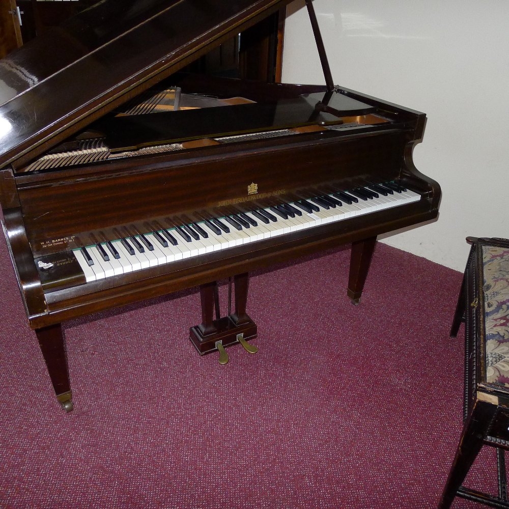 Lot 7 - 1 mahogany cased boudoir grand piano by John Broadwood & Sons, plus a duet stool (located in